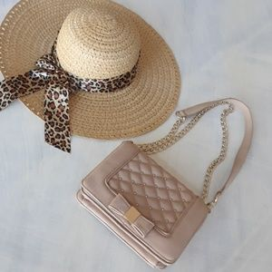 Quilted taupe & gold chain Charming Charlie purse